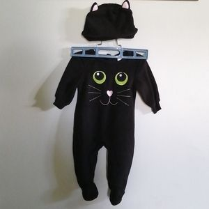 Black cat one-piece with hat